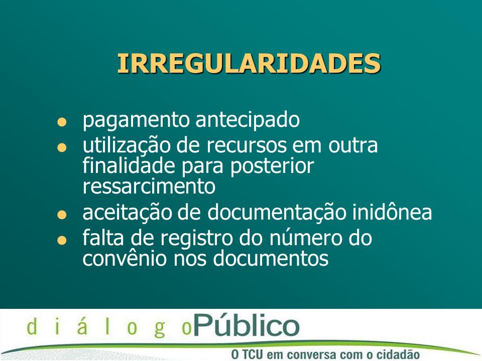 IRREGULARIDADES pagamento antecipado utilização de recursos em outra finalidade para posterior ressarcimento aceitação de documentação inidônea falta