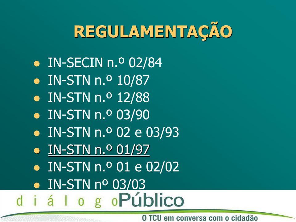 REGULAMENTAÇÃO IN-SECIN n.º 02/84 IN-STN n.º 10/87 IN-STN n.º 12/88 IN-STN n.º 03/90 IN-STN n.º 02 e 03/93 IN-STN n.º 01/97 IN-STN n.º 01/97 IN-STN n.