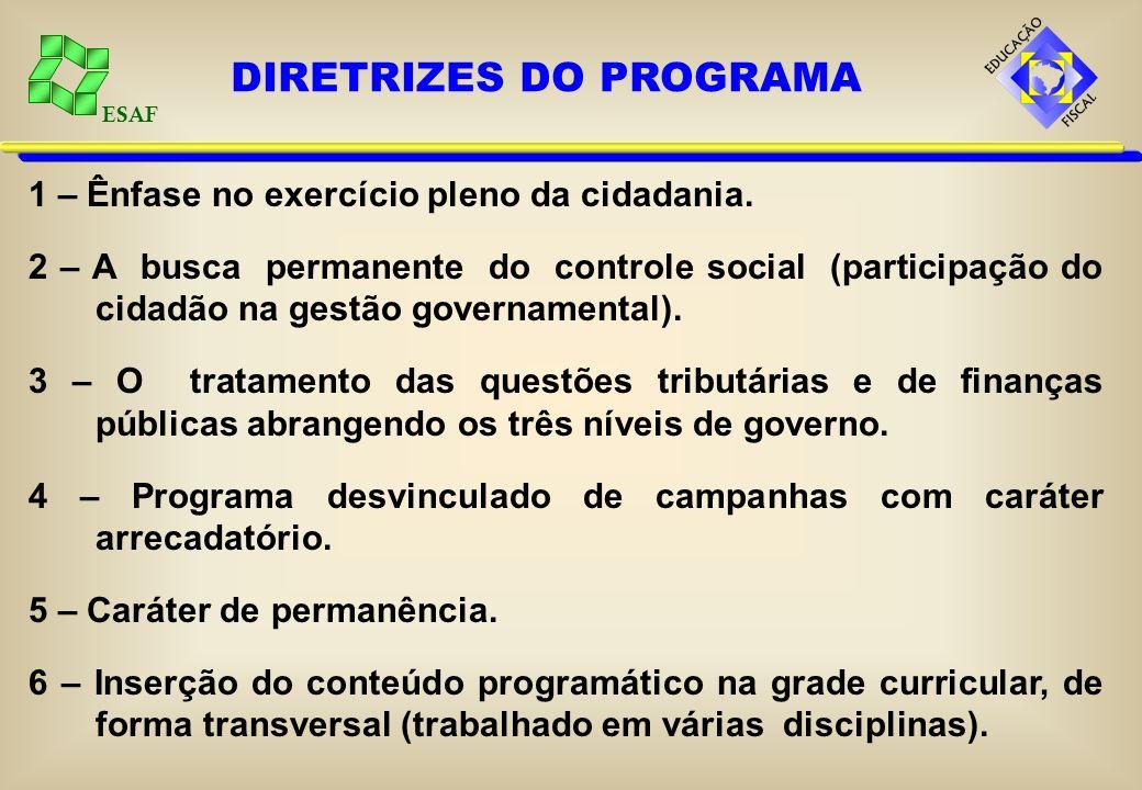 ESAF Por sua abrangência, o tema educação fiscal não se circunscreve ao conteúdo específico e compartimentado de uma determinada disciplina. Devido à
