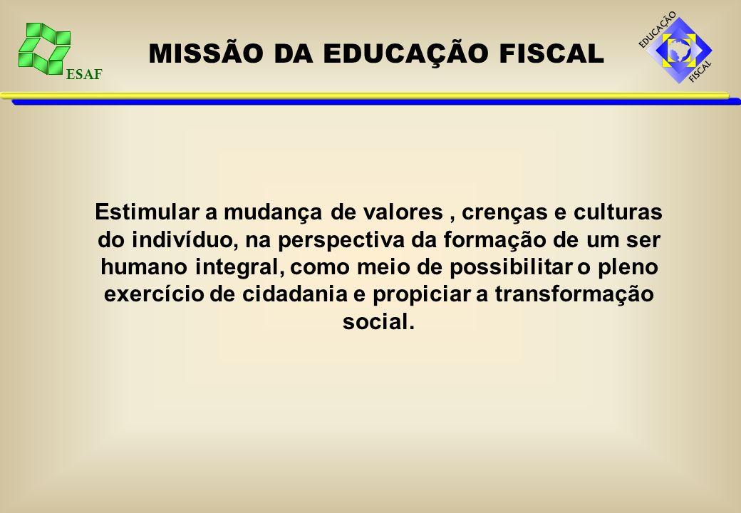 ESAF MISSÃO DA EDUCAÇÃO FISCAL Estimular a mudança de valores, crenças e culturas do indivíduo, na perspectiva da formação de um ser humano integral, como meio de possibilitar o pleno exercício de cidadania e propiciar a transformação social.