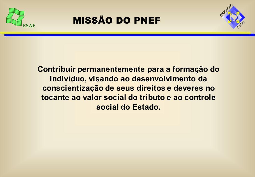 ESAF MISSÃO DO PNEF Contribuir permanentemente para a formação do indivíduo, visando ao desenvolvimento da conscientização de seus direitos e deveres no tocante ao valor social do tributo e ao controle social do Estado.