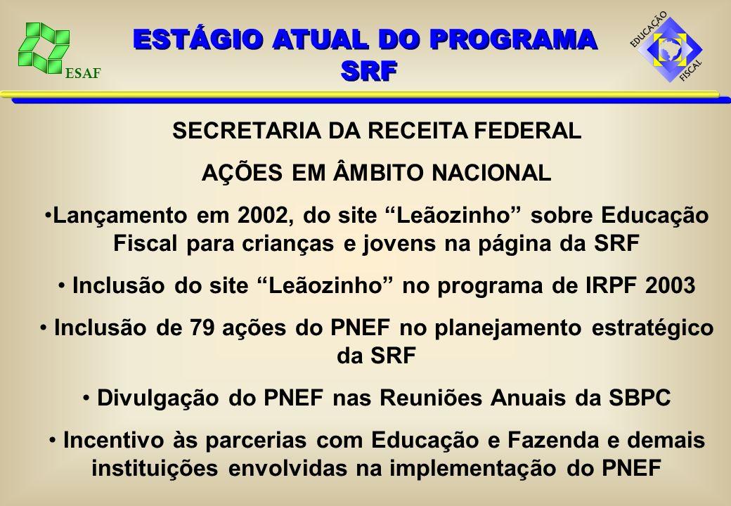 ESAF MISSÃO DO GEF Promover a implementação, o desenvolvimento e a sustentabilidade do Programa Nacional de Educação Fiscal - PNEF, de forma ética e d