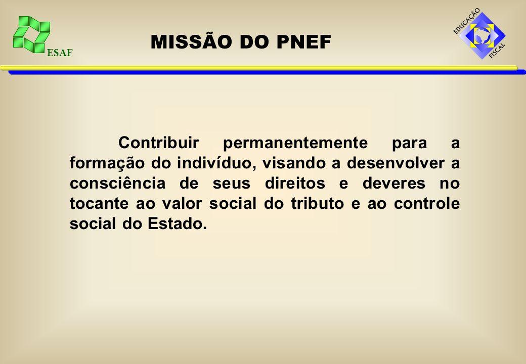ESAF MISSÃO DO PNEF Contribuir permanentemente para a formação do indivíduo, visando a desenvolver a consciência de seus direitos e deveres no tocante ao valor social do tributo e ao controle social do Estado.