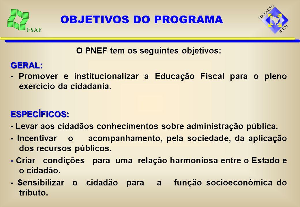 ESAF O PNEF tem os seguintes objetivos:GERAL: - Promover e institucionalizar a Educação Fiscal para o pleno exercício da cidadania.ESPECÍFICOS: - Levar aos cidadãos conhecimentos sobre administração pública.