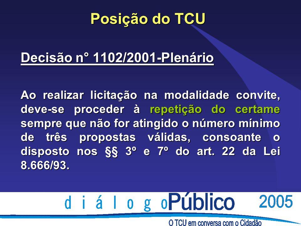 Posição do TCU Decisão n° 1102/2001-Plenário Ao realizar licitação na modalidade convite, deve-se proceder à repetição do certame sempre que não for atingido o número mínimo de três propostas válidas, consoante o disposto nos §§ 3º e 7º do art.