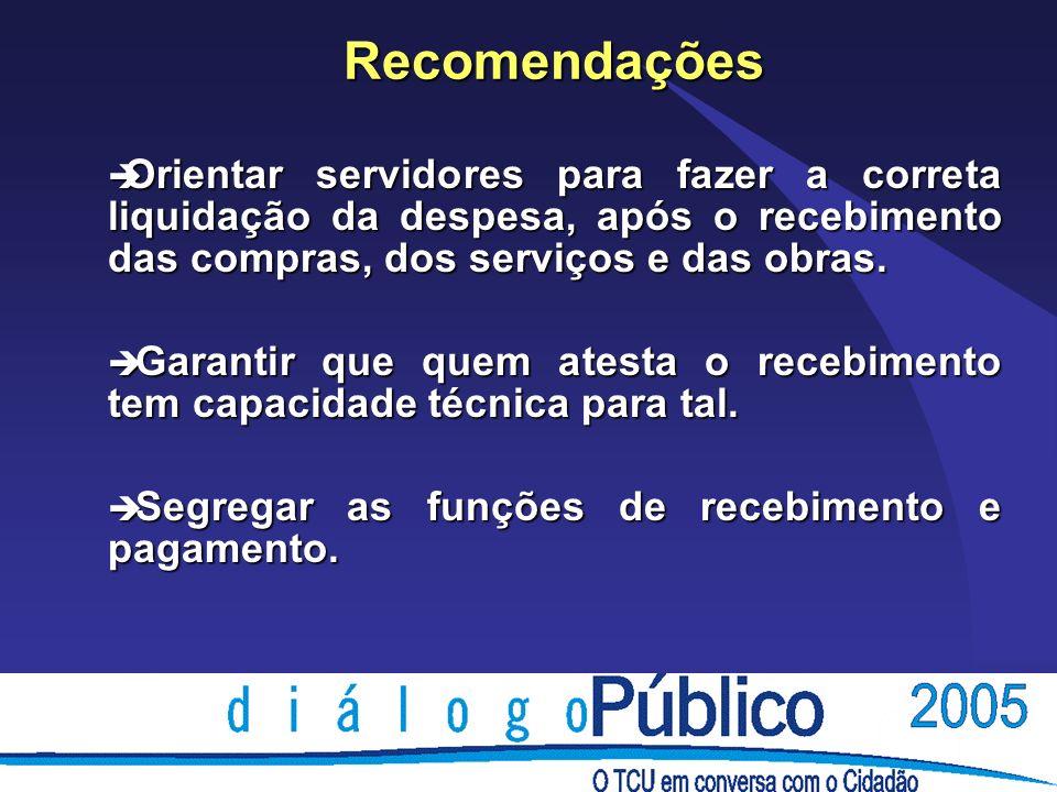 Recomendações è Orientar servidores para fazer a correta liquidação da despesa, após o recebimento das compras, dos serviços e das obras.