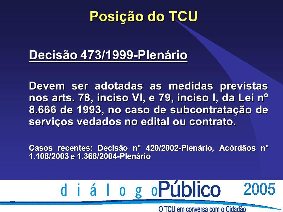 Posição do TCU Decisão 473/1999-Plenário Devem ser adotadas as medidas previstas nos arts.