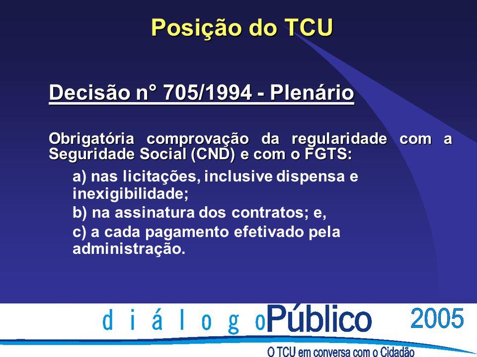 Posição do TCU Decisão n° 705/1994 - Plenário Obrigatória comprovação da regularidade com a Seguridade Social (CND) e com o FGTS: a) nas licitações, inclusive dispensa e inexigibilidade; b) na assinatura dos contratos; e, c) a cada pagamento efetivado pela administração.