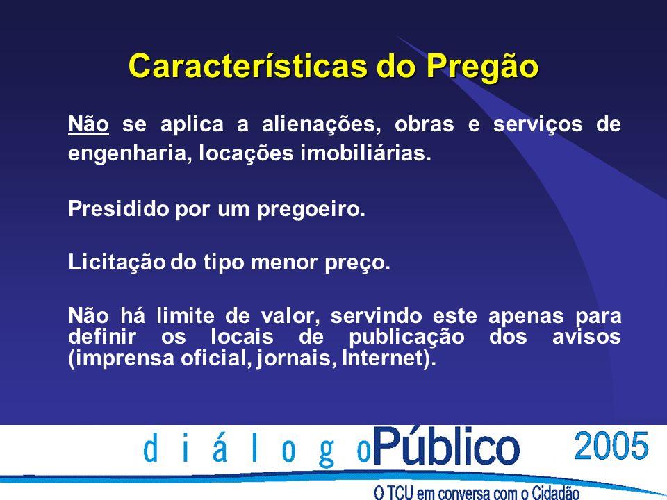 Características do Pregão Não se aplica a alienações, obras e serviços de engenharia, locações imobiliárias.