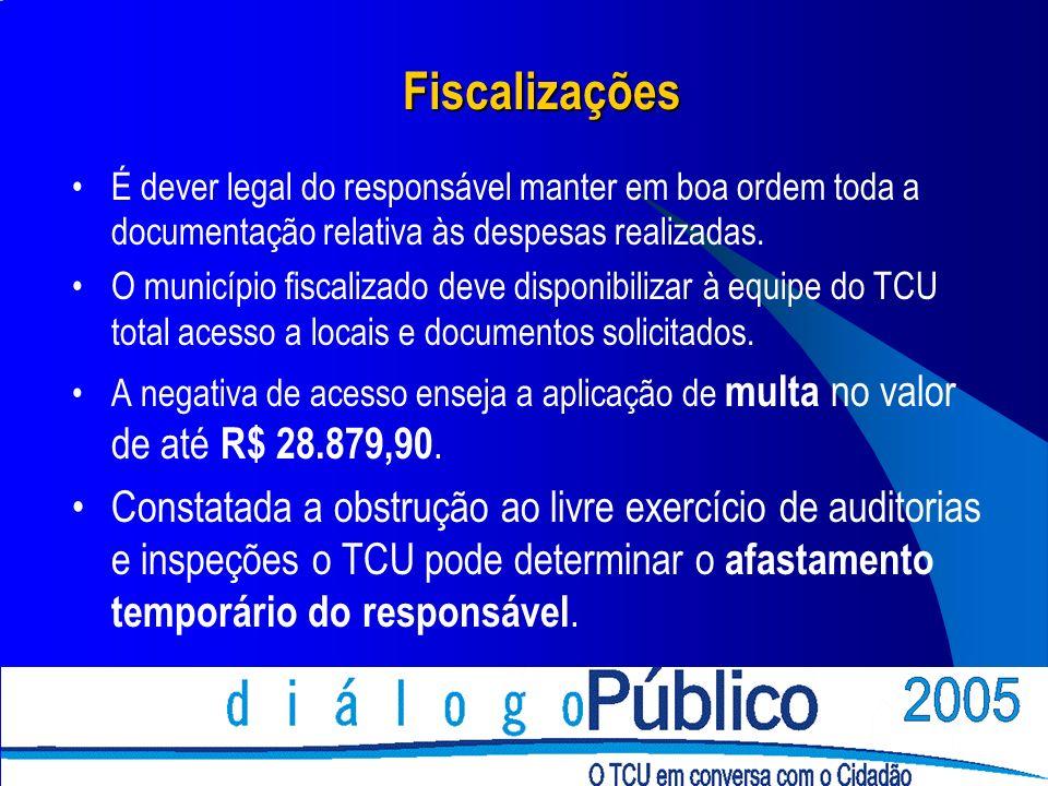 Fiscalizações É dever legal do responsável manter em boa ordem toda a documentação relativa às despesas realizadas. O município fiscalizado deve dispo