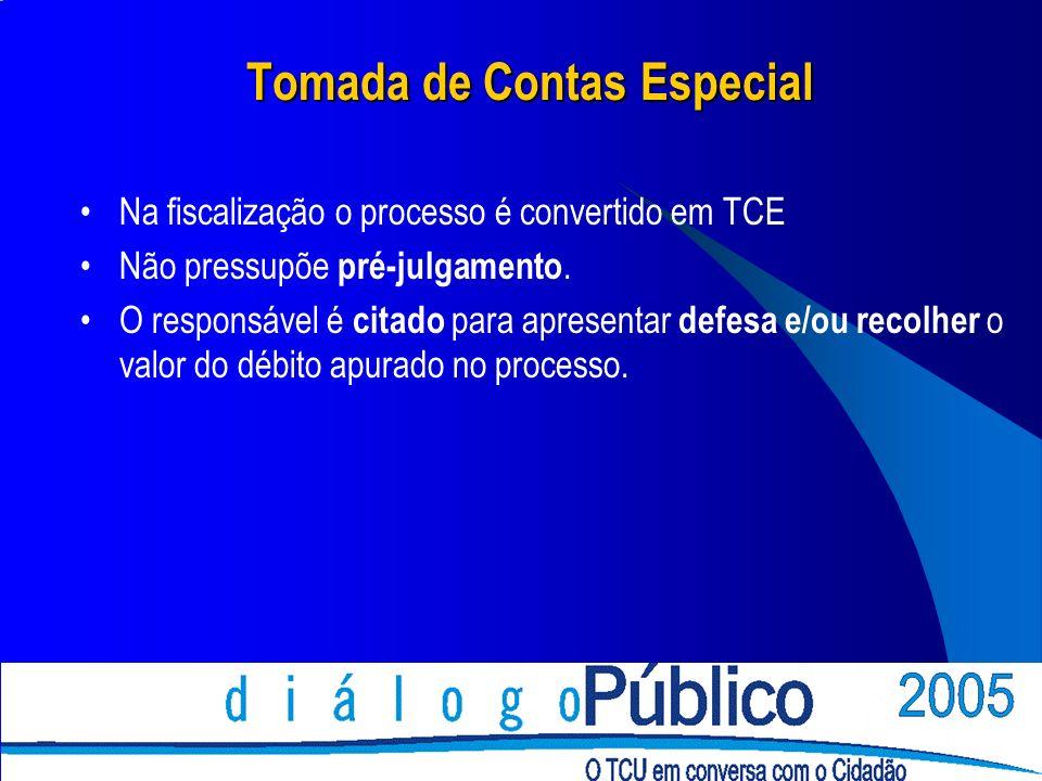 Tomada de Contas Especial Na fiscalização o processo é convertido em TCE Não pressupõe pré-julgamento. O responsável é citado para apresentar defesa e