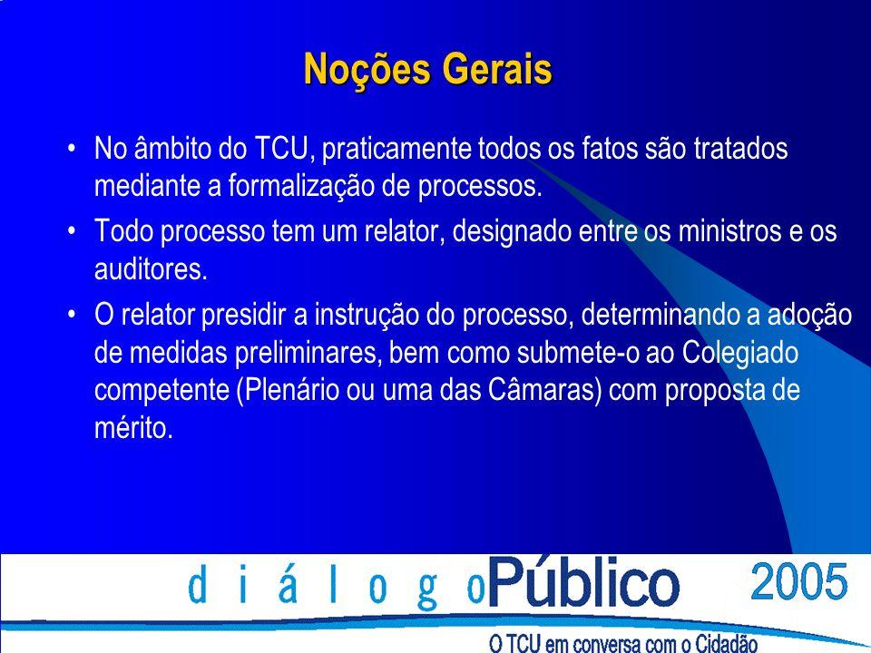 Noções Gerais No âmbito do TCU, praticamente todos os fatos são tratados mediante a formalização de processos. Todo processo tem um relator, designado