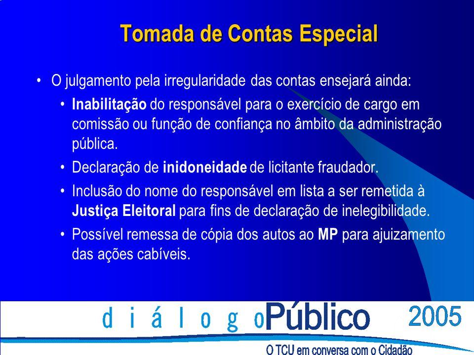 Tomada de Contas Especial O julgamento pela irregularidade das contas ensejará ainda: Inabilitação do responsável para o exercício de cargo em comissã