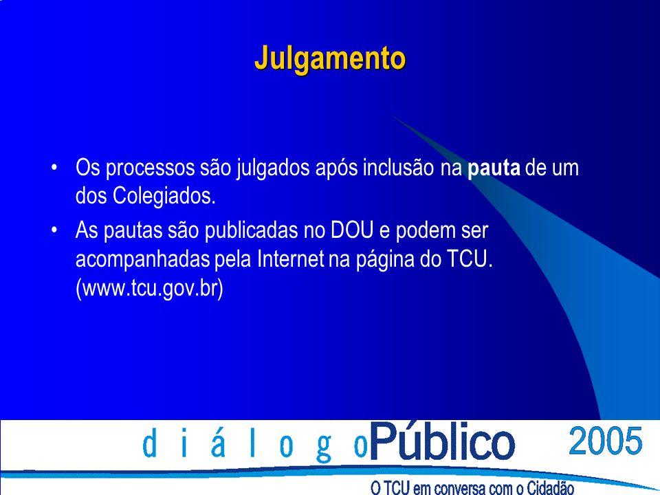 Julgamento Os processos são julgados após inclusão na pauta de um dos Colegiados. As pautas são publicadas no DOU e podem ser acompanhadas pela Intern