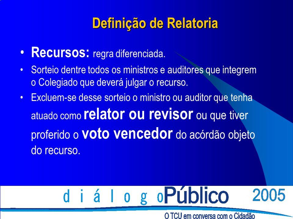 Definição de Relatoria Recursos: regra diferenciada. Sorteio dentre todos os ministros e auditores que integrem o Colegiado que deverá julgar o recurs