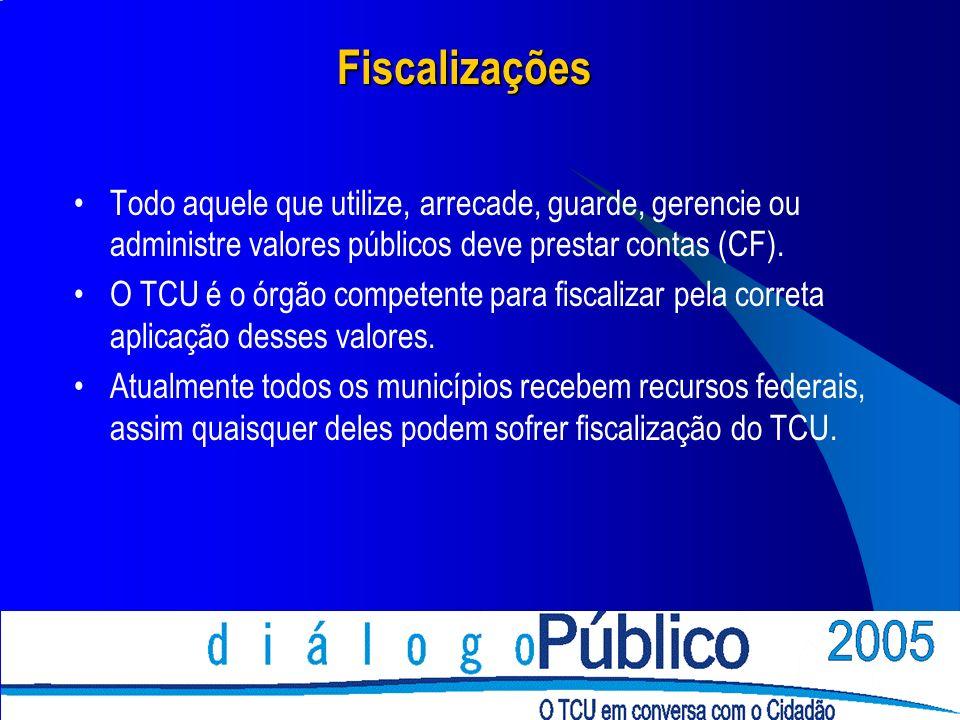 Fiscalizações Todo aquele que utilize, arrecade, guarde, gerencie ou administre valores públicos deve prestar contas (CF). O TCU é o órgão competente