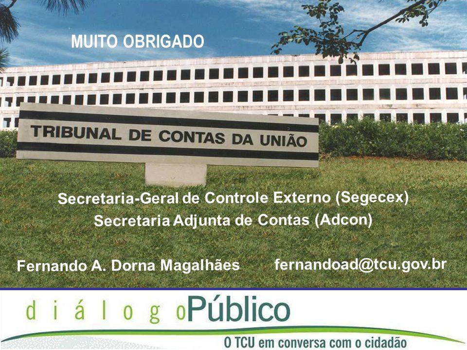 Secretaria-Geral de Controle Externo (Segecex) Secretaria Adjunta de Contas (Adcon) Fernando A. Dorna Magalhães fernandoad@tcu.gov.br MUITO OBRIGADO