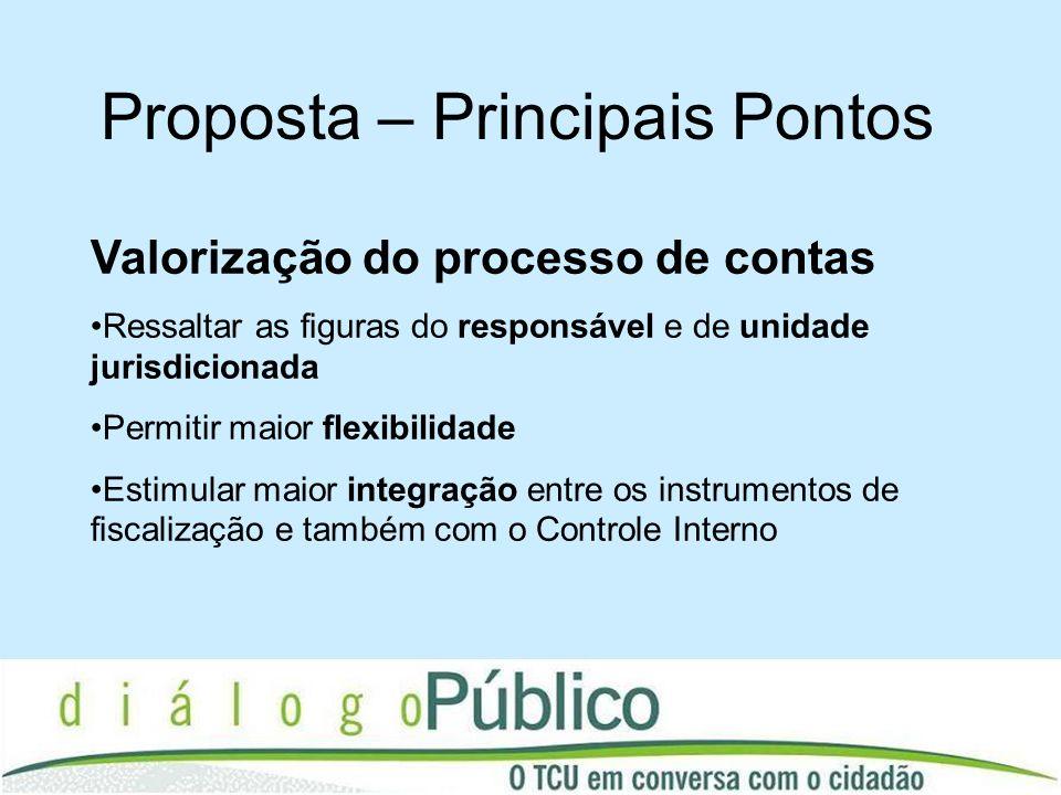 Proposta – Principais Pontos Valorização do processo de contas Ressaltar as figuras do responsável e de unidade jurisdicionada Permitir maior flexibil