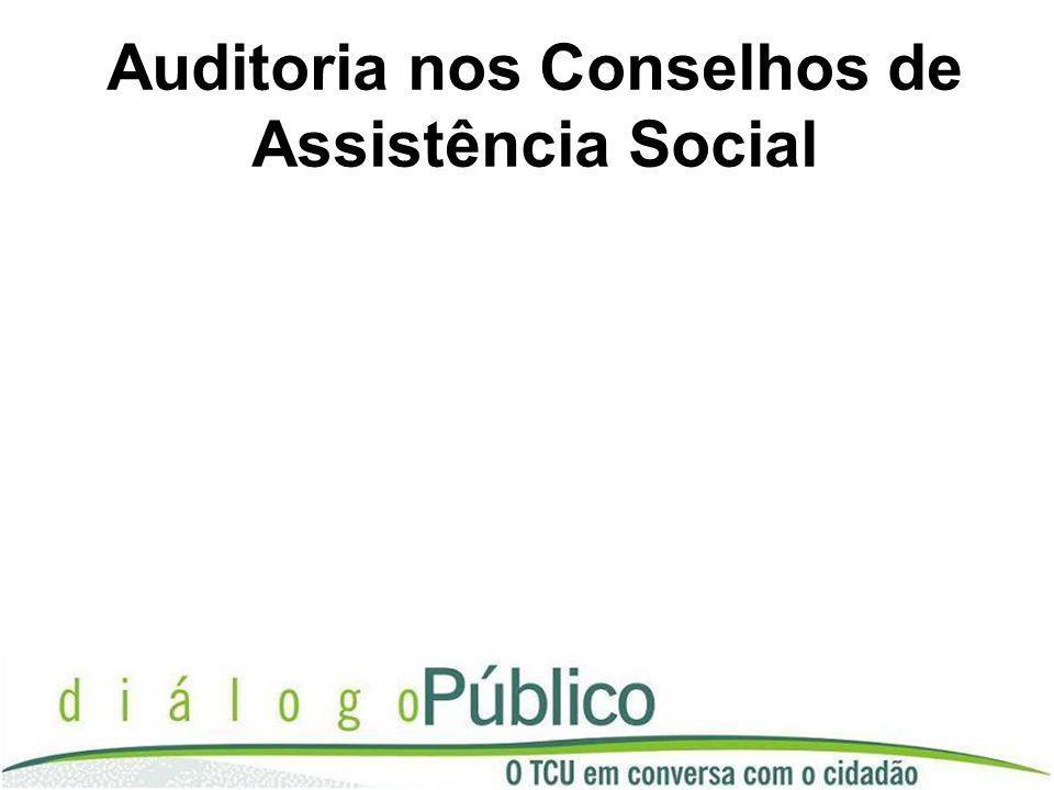 Objetivo da Auditoria Avaliação da atuação dos conselhos de assistência social no que tange à verificação do uso dos recursos públicos federais