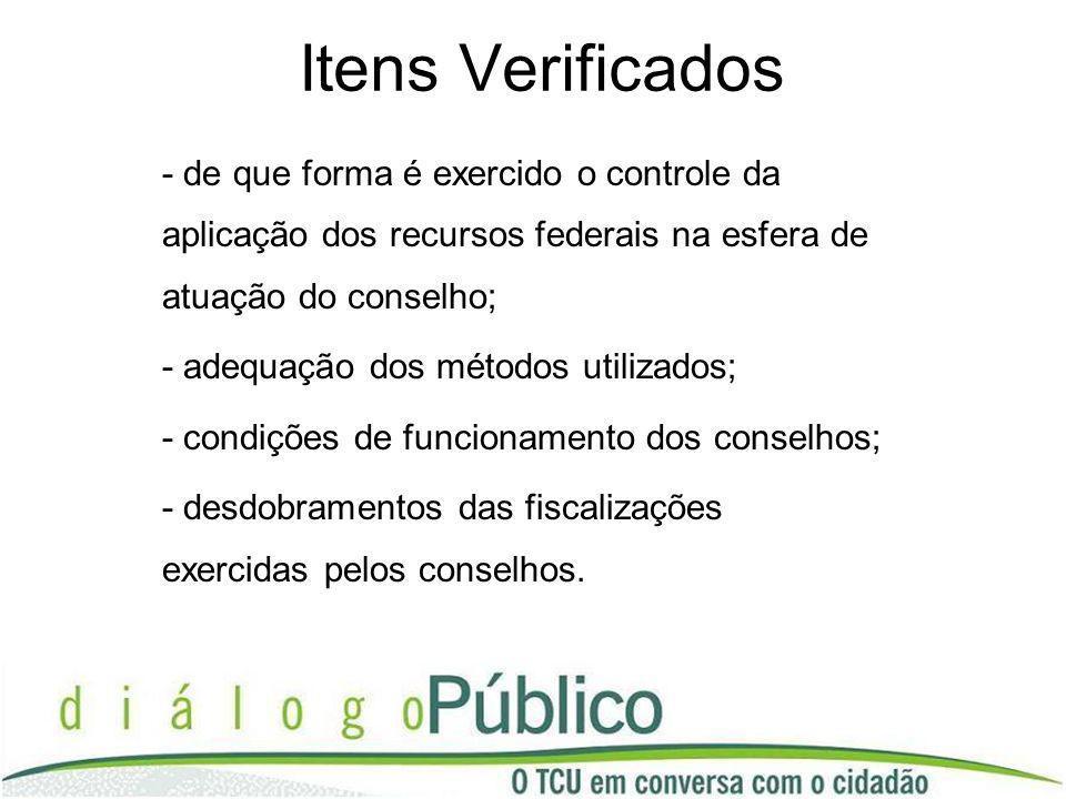 Itens Verificados - de que forma é exercido o controle da aplicação dos recursos federais na esfera de atuação do conselho; - adequação dos métodos ut