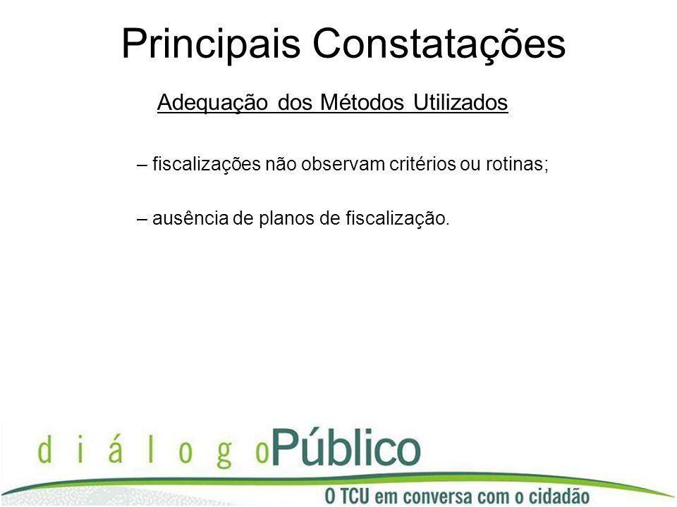 Principais Constatações Adequação dos Métodos Utilizados – fiscalizações não observam critérios ou rotinas; – ausência de planos de fiscalização.