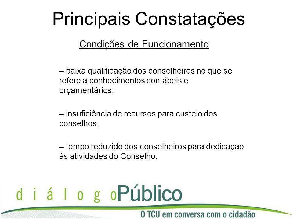 Principais Constatações Condições de Funcionamento – baixa qualificação dos conselheiros no que se refere a conhecimentos contábeis e orçamentários; –