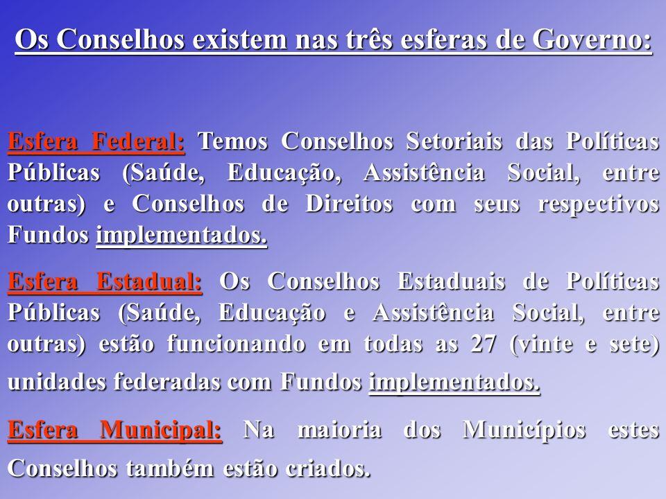 Os Conselhos existem nas três esferas de Governo: Esfera Federal: Temos Conselhos Setoriais das Políticas Públicas (Saúde, Educação, Assistência Socia