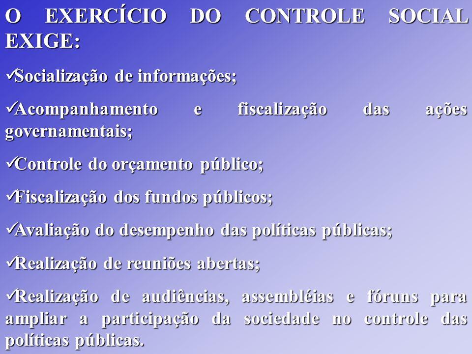 O EXERCÍCIO DO CONTROLE SOCIAL EXIGE: Socialização de informações; Socialização de informações; Acompanhamento e fiscalização das ações governamentais