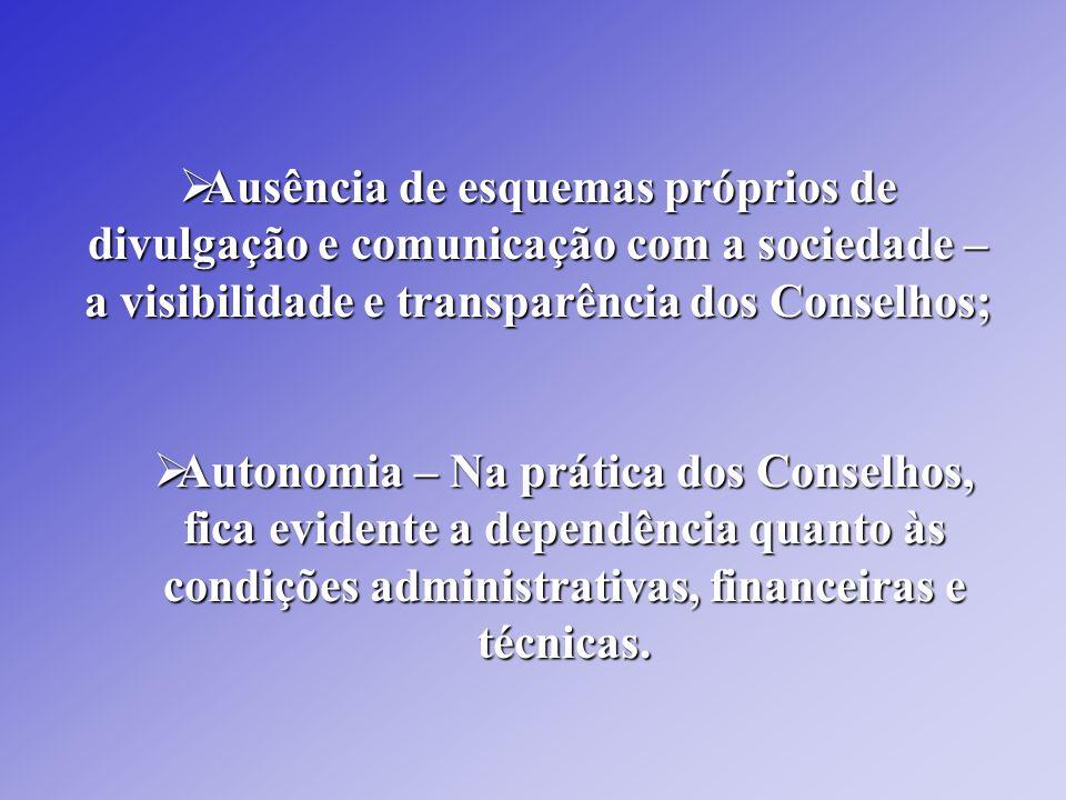 Ausência de esquemas próprios de divulgação e comunicação com a sociedade – a visibilidade e transparência dos Conselhos; Ausência de esquemas próprio