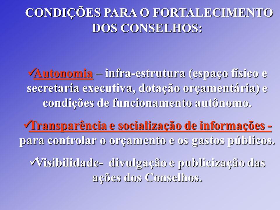 CONDIÇÕES PARA O FORTALECIMENTO DOS CONSELHOS: CONDIÇÕES PARA O FORTALECIMENTO DOS CONSELHOS: Autonomia – infra-estrutura (espaço físico e secretaria