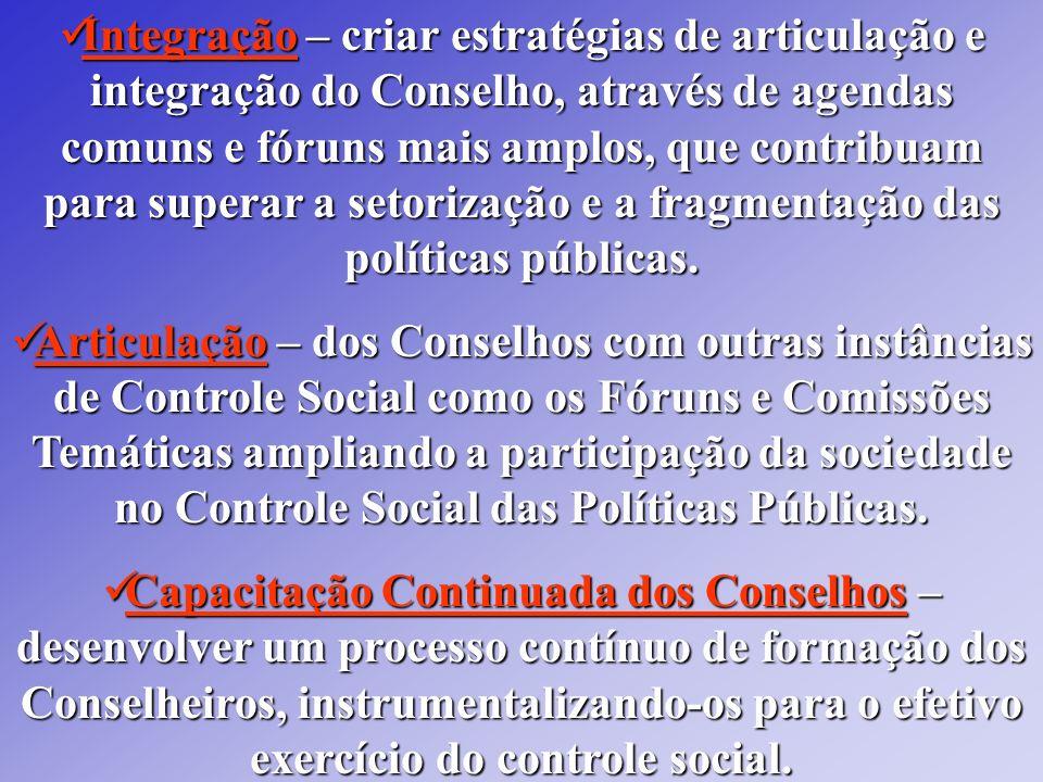 Integração – criar estratégias de articulação e integração do Conselho, através de agendas comuns e fóruns mais amplos, que contribuam para superar a