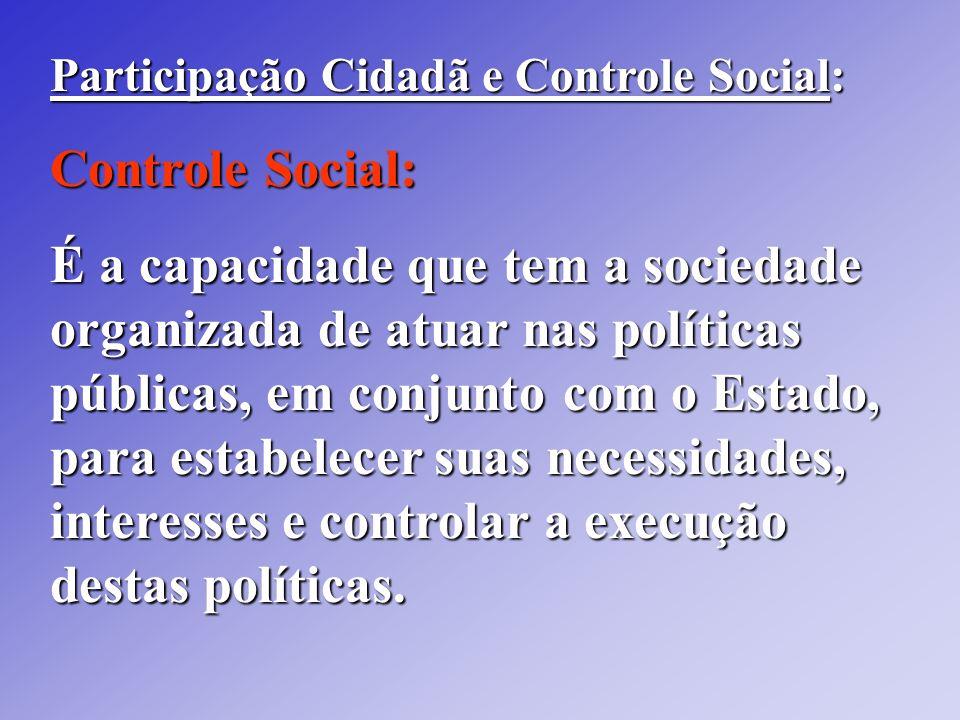 Participação Cidadã e Controle Social: Controle Social: É a capacidade que tem a sociedade organizada de atuar nas políticas públicas, em conjunto com
