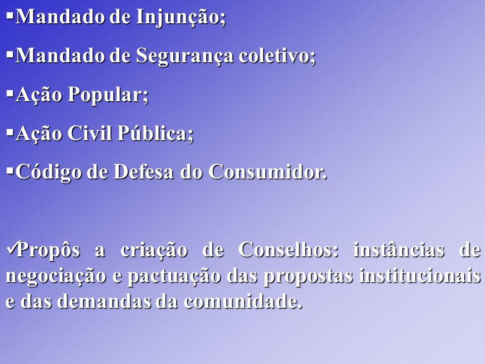 Mandado de Injunção; Mandado de Injunção; Mandado de Segurança coletivo; Mandado de Segurança coletivo; Ação Popular; Ação Popular; Ação Civil Pública