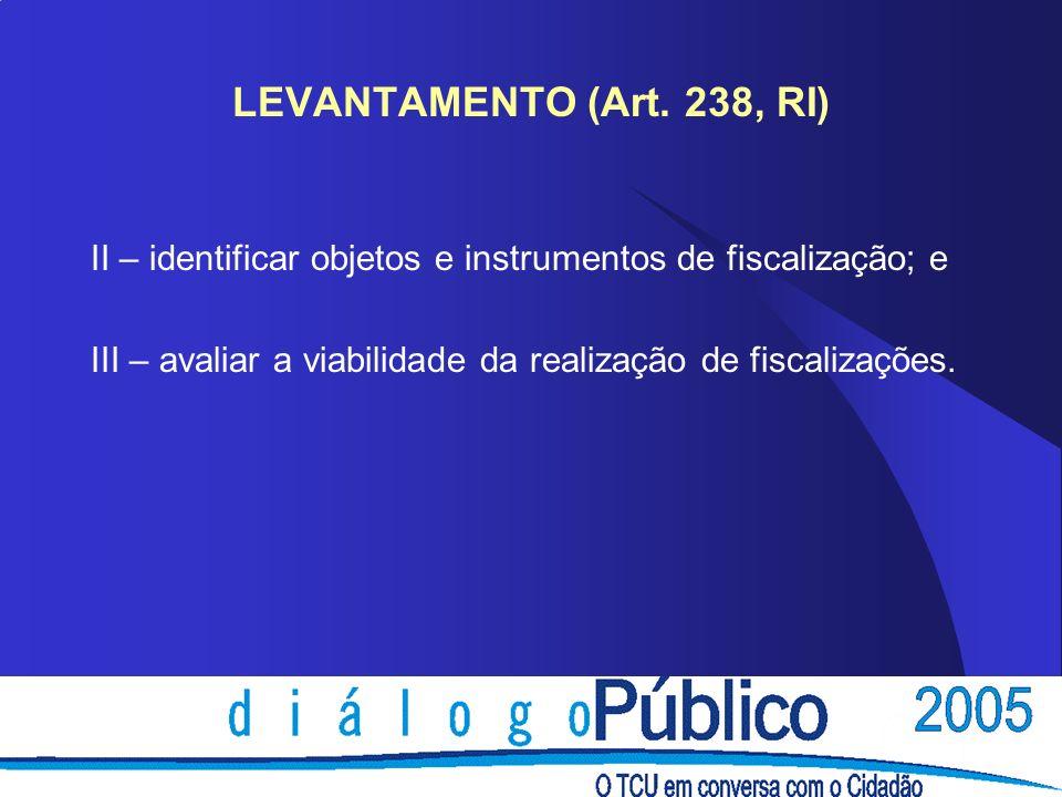 LEVANTAMENTO (Art. 238, RI) II – identificar objetos e instrumentos de fiscalização; e III – avaliar a viabilidade da realização de fiscalizações.