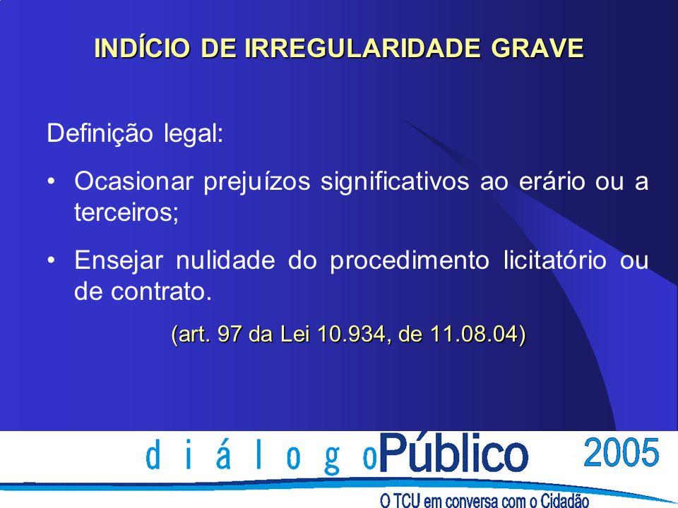 INDÍCIO DE IRREGULARIDADE GRAVE Definição legal: Ocasionar prejuízos significativos ao erário ou a terceiros; Ensejar nulidade do procedimento licitat