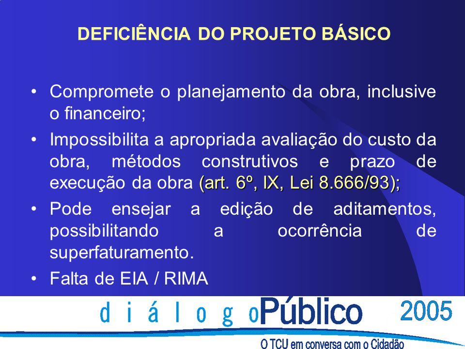 DEFICIÊNCIA DO PROJETO BÁSICO Compromete o planejamento da obra, inclusive o financeiro; (art. 6º, IX, Lei 8.666/93);Impossibilita a apropriada avalia