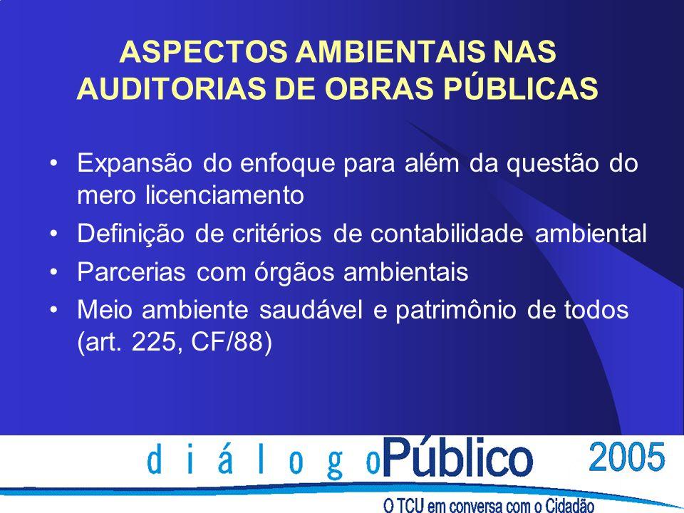 ASPECTOS AMBIENTAIS NAS AUDITORIAS DE OBRAS PÚBLICAS Expansão do enfoque para além da questão do mero licenciamento Definição de critérios de contabil