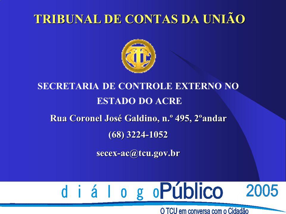 TRIBUNAL DE CONTAS DA UNIÃO SECRETARIA DE CONTROLE EXTERNO NO ESTADO DO ACRE Rua Coronel José Galdino, n.º 495, 2ºandar (68) 3224-1052 secex-ac@tcu.go