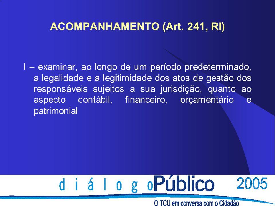 ACOMPANHAMENTO (Art. 241, RI) I – examinar, ao longo de um período predeterminado, a legalidade e a legitimidade dos atos de gestão dos responsáveis s