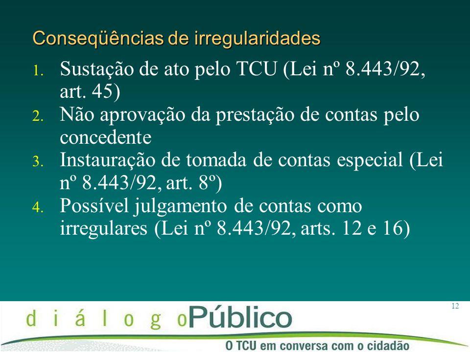 12 Conseqüências de irregularidades 1. Sustação de ato pelo TCU (Lei nº 8.443/92, art. 45) 2. Não aprovação da prestação de contas pelo concedente 3.