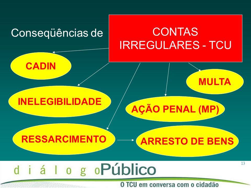 13 CADIN CONTAS IRREGULARES - TCU MULTA RESSARCIMENTO AÇÃO PENAL (MP) Conseqüências de INELEGIBILIDADE ARRESTO DE BENS