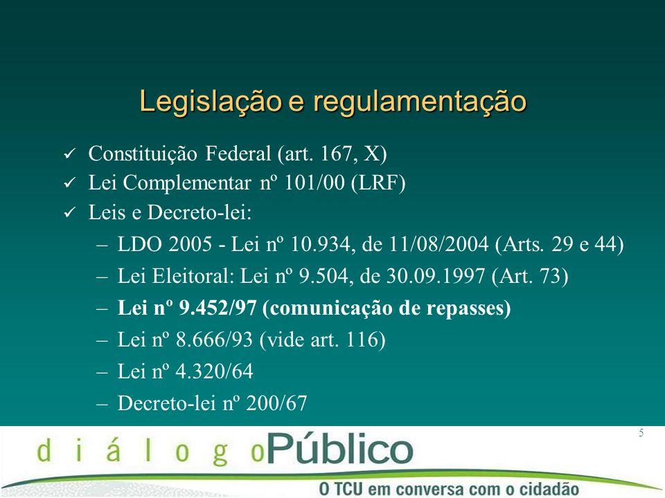 5 Legislação e regulamentação Constituição Federal (art. 167, X) Lei Complementar nº 101/00 (LRF) Leis e Decreto-lei: –LDO 2005 - Lei nº 10.934, de 11
