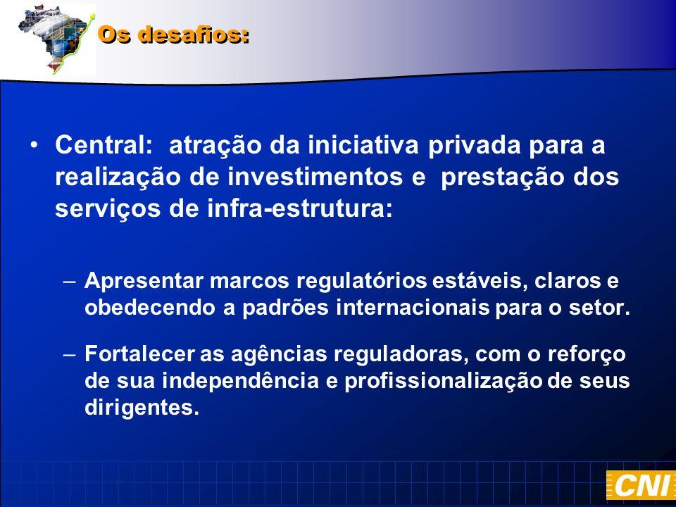 Central: atração da iniciativa privada para a realização de investimentos e prestação dos serviços de infra-estrutura: –Apresentar marcos regulatórios estáveis, claros e obedecendo a padrões internacionais para o setor.