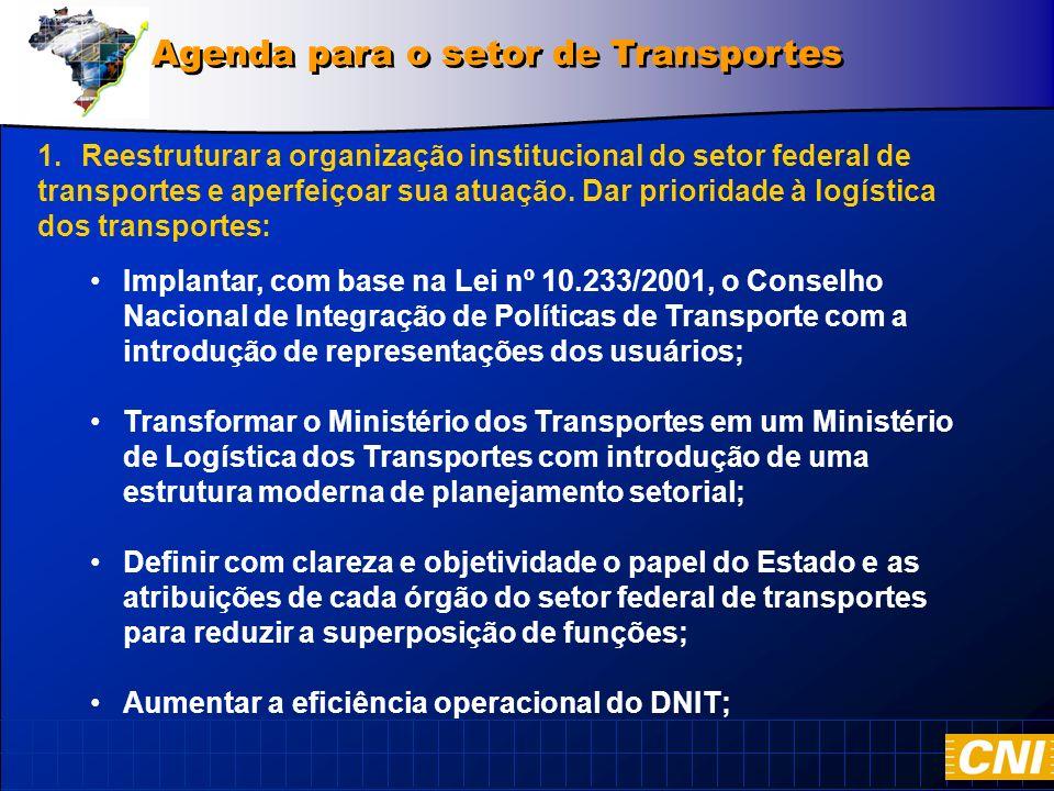 1.Reestruturar a organização institucional do setor federal de transportes e aperfeiçoar sua atuação.