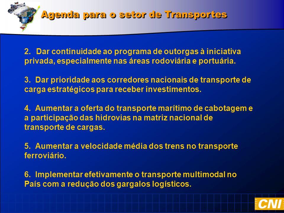 2.Dar continuidade ao programa de outorgas à iniciativa privada, especialmente nas áreas rodoviária e portuária.