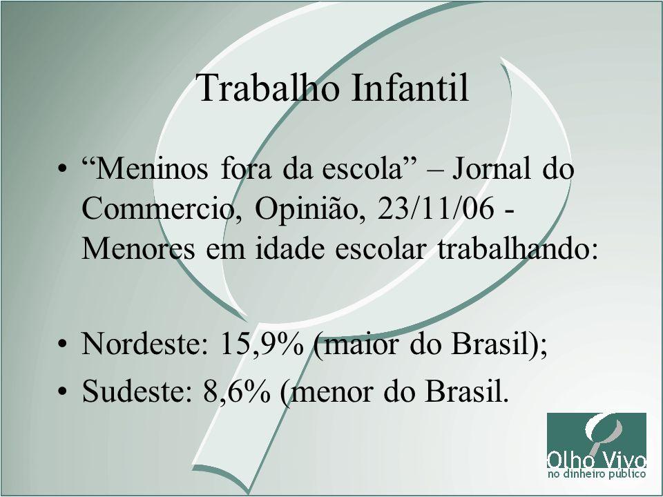 Trabalho Infantil Meninos fora da escola – Jornal do Commercio, Opinião, 23/11/06 - Menores em idade escolar trabalhando: Nordeste: 15,9% (maior do Br