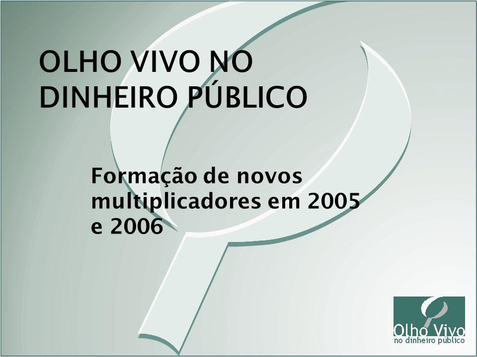 Formação de novos multiplicadores em 2005 e 2006 OLHO VIVO NO DINHEIRO PÚBLICO