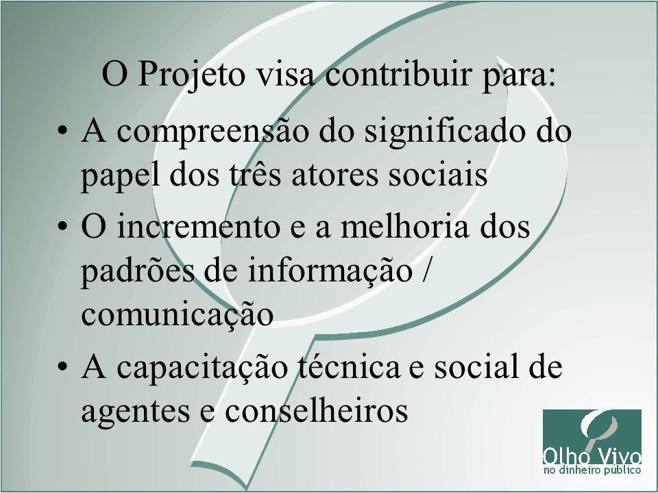 O Projeto visa contribuir para: A compreensão do significado do papel dos três atores sociais O incremento e a melhoria dos padrões de informação / co