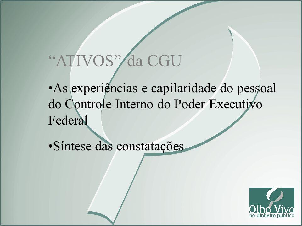 ATIVOS da CGU As experiências e capilaridade do pessoal do Controle Interno do Poder Executivo Federal Síntese das constatações