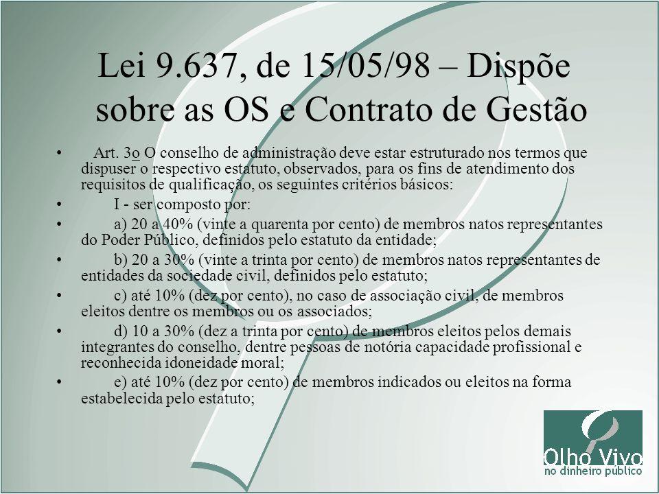 Lei 9.637, de 15/05/98 – Dispõe sobre as OS e Contrato de Gestão Art. 3o O conselho de administração deve estar estruturado nos termos que dispuser o